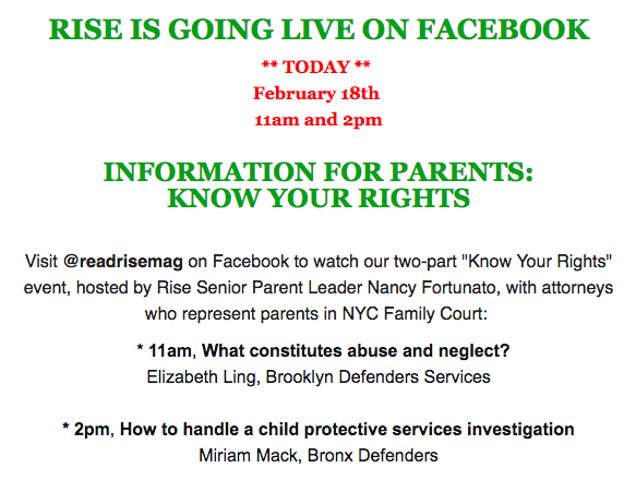 Parents: Know Your Rights – Rise FacebookLive training by